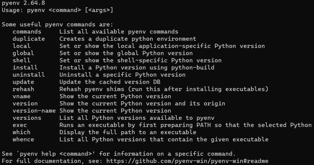 Windows11のpyenvを確認