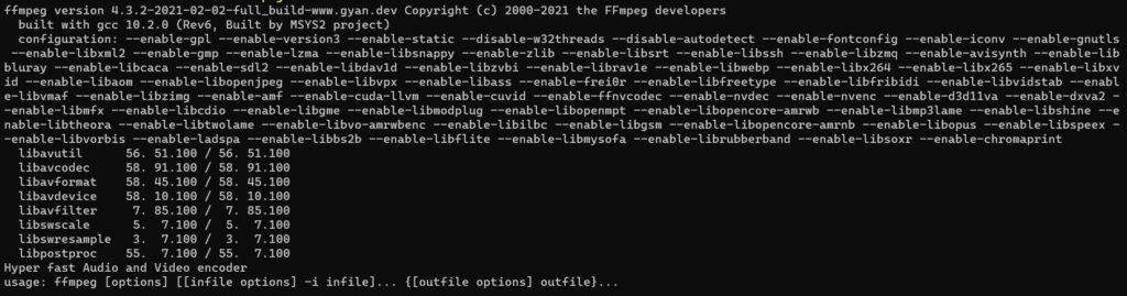 Windows11のffmpegを確認